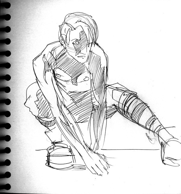 Dr Sketchy's, Male Crouching