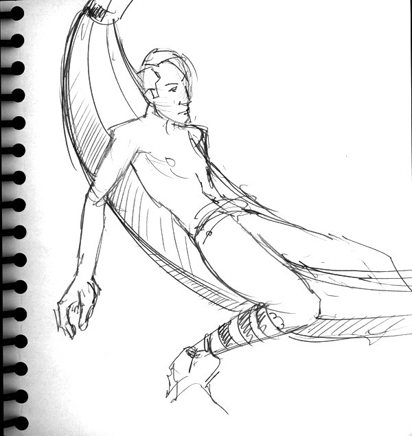 Dr Sketchy's, Male with Banana Boat