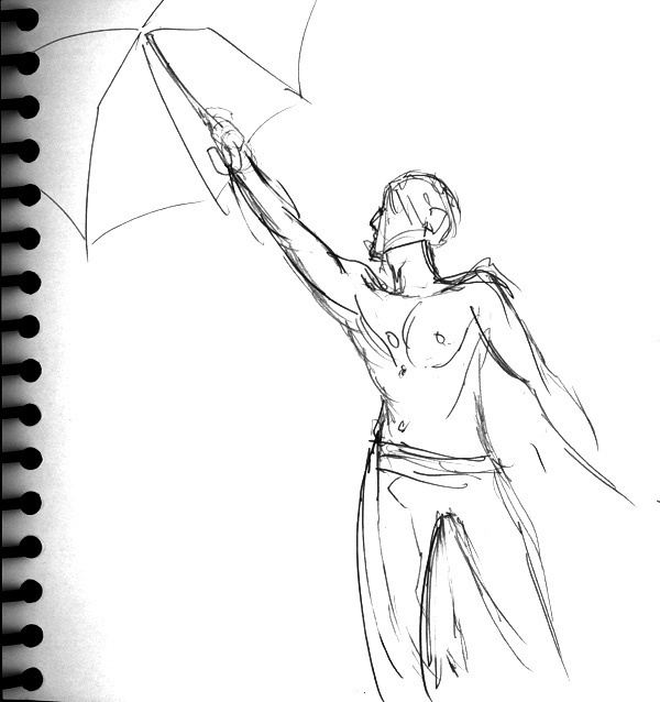 Dr Sketchy's, Male with Umbrella