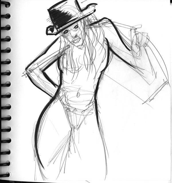 Dr Sketchy's, Umbrella and Hat